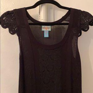 Black knit mini dress w capped sleeves